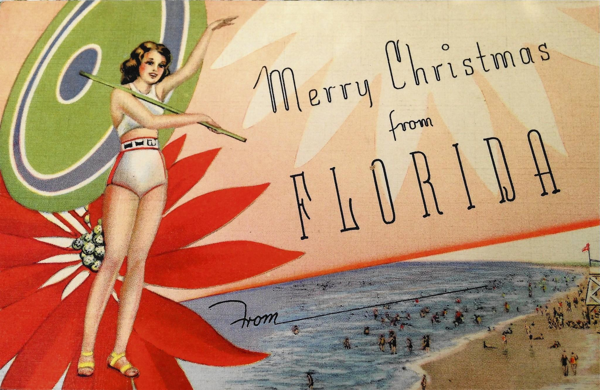 "Despite Floridians' tendency to gloat over our warm weather in December, the sender of this 'linen' postcard wrote from Daytona Beach in December 1937 that her ""feet were like icicles"" right before Christmas."