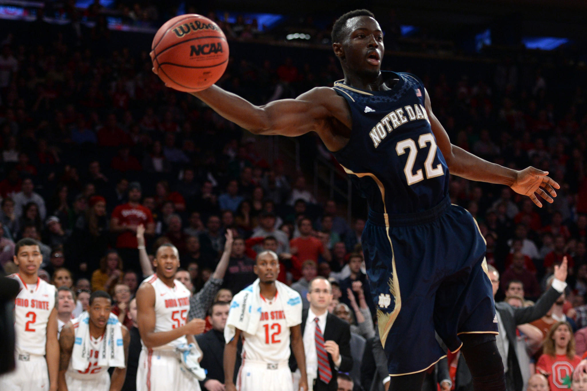 Notre Dame guard Jerian Grant saves a ball from going out of bounds against Ohio State during the second half of the Gotham Classic at Madison Square Garden.