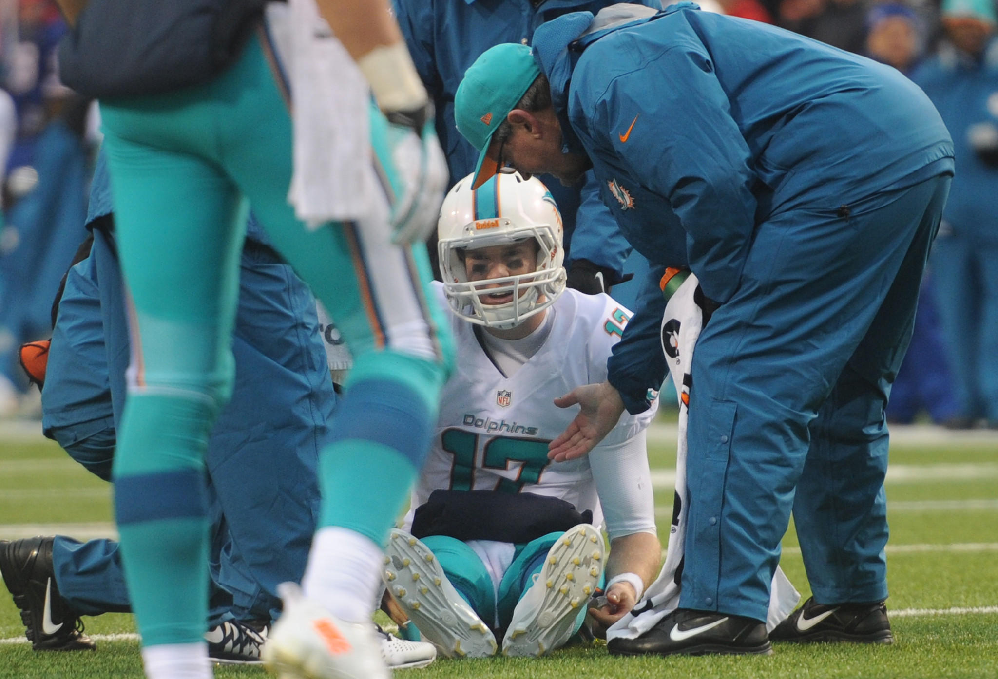 Ryan Tannehill gets injured after being sacked in the fourth quarter against the Bills. Tannehill later returned to the game. Miami Dolphins vs. Buffalo Bills. Ralph Wilson Stadium, Orchard Park, NY. 12/23/12. Jim Rassol, Sun Sentinel.