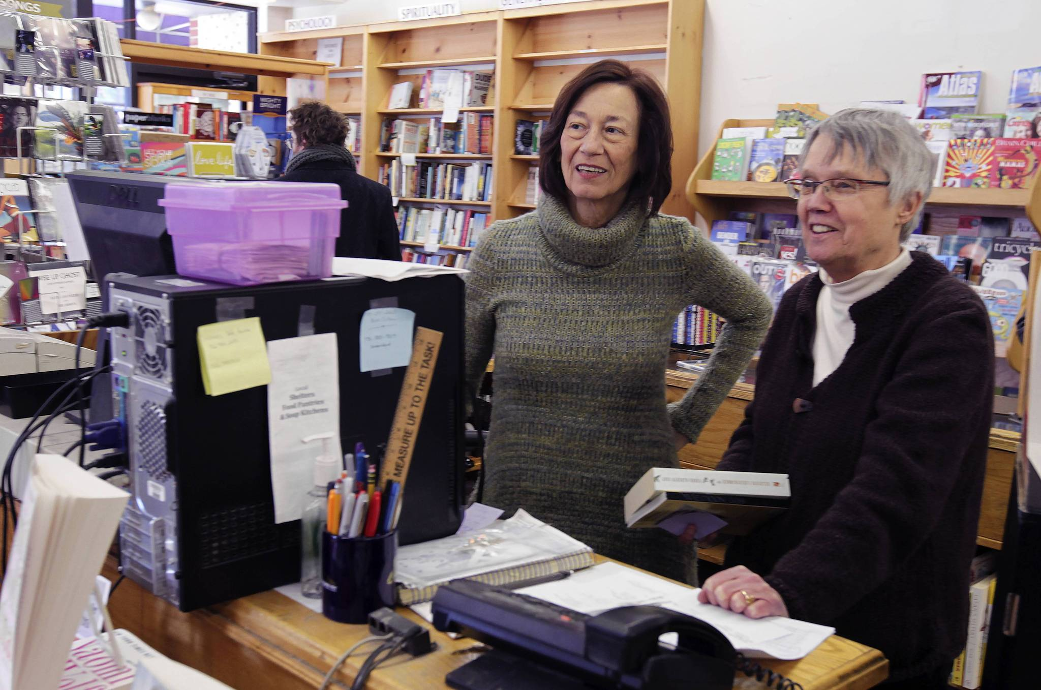 Linda Bubon, left, and Ann Christopherson, owners of Women & Children First book store.
