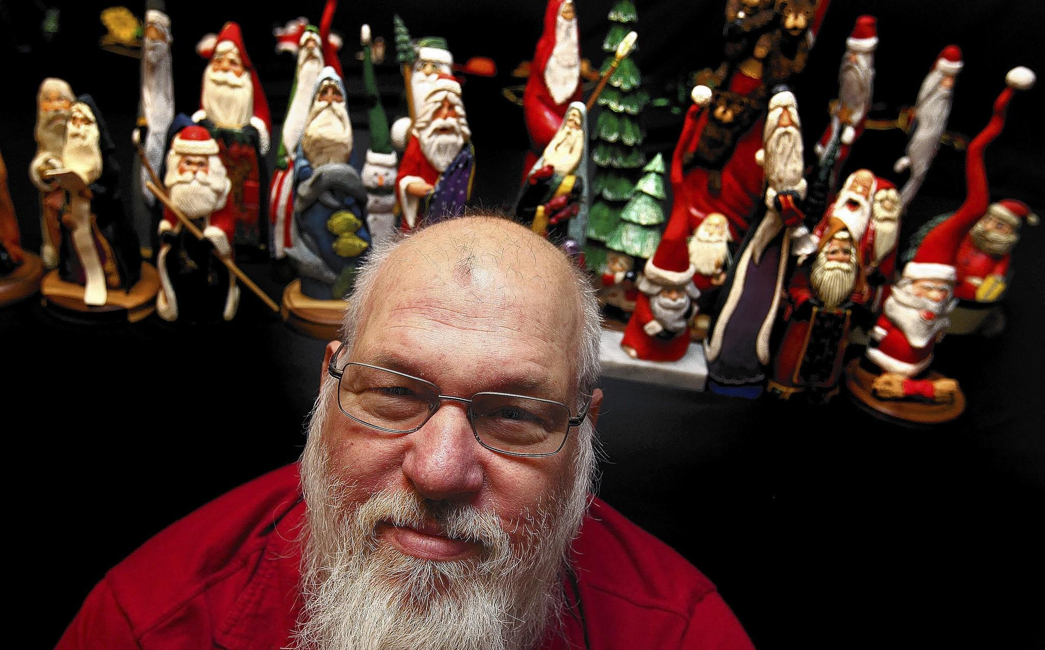 Butch Kuchta of Hampton likes to carve things big and small out of wood. One of the many subjects he like to carve is Santa Claus. Using inspiration from the people and things around him he carves these whimsical figures by hand.