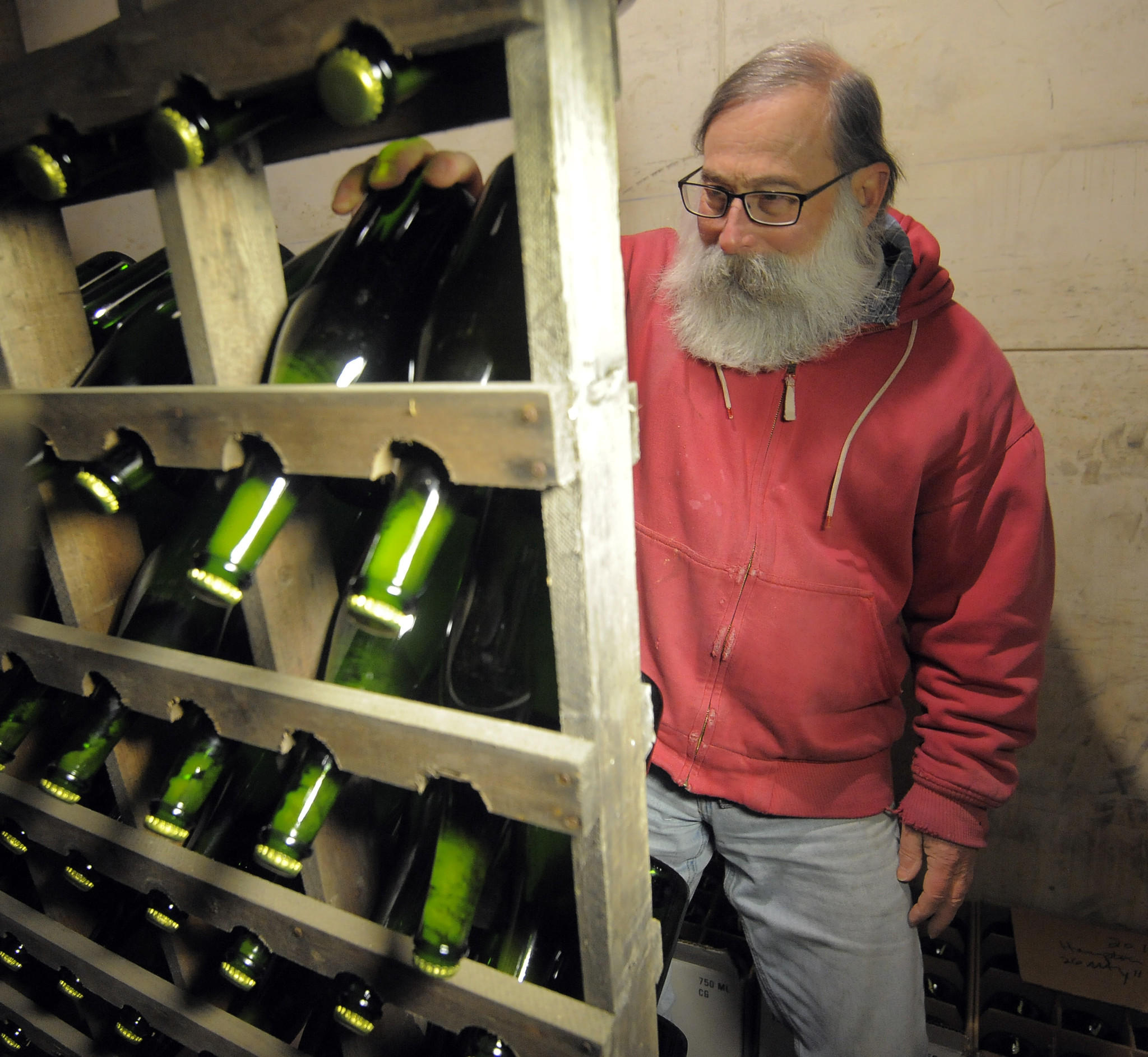 Ray Brasfield, owner and winemaker at Cygnus Wine Cellars, located in Carroll County, makes sparkling wine using the same process used for champagne.