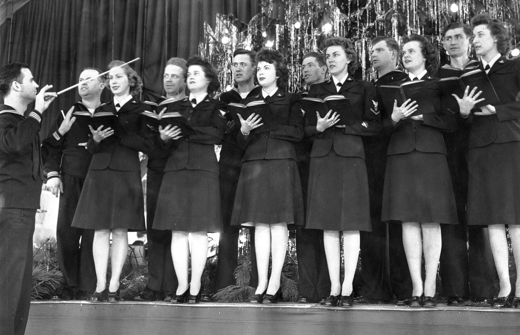 "The Glenview Air Base choral group sings Christmas carols in 1943, an era of such songs as ""I'll Be Home for Christmas."""