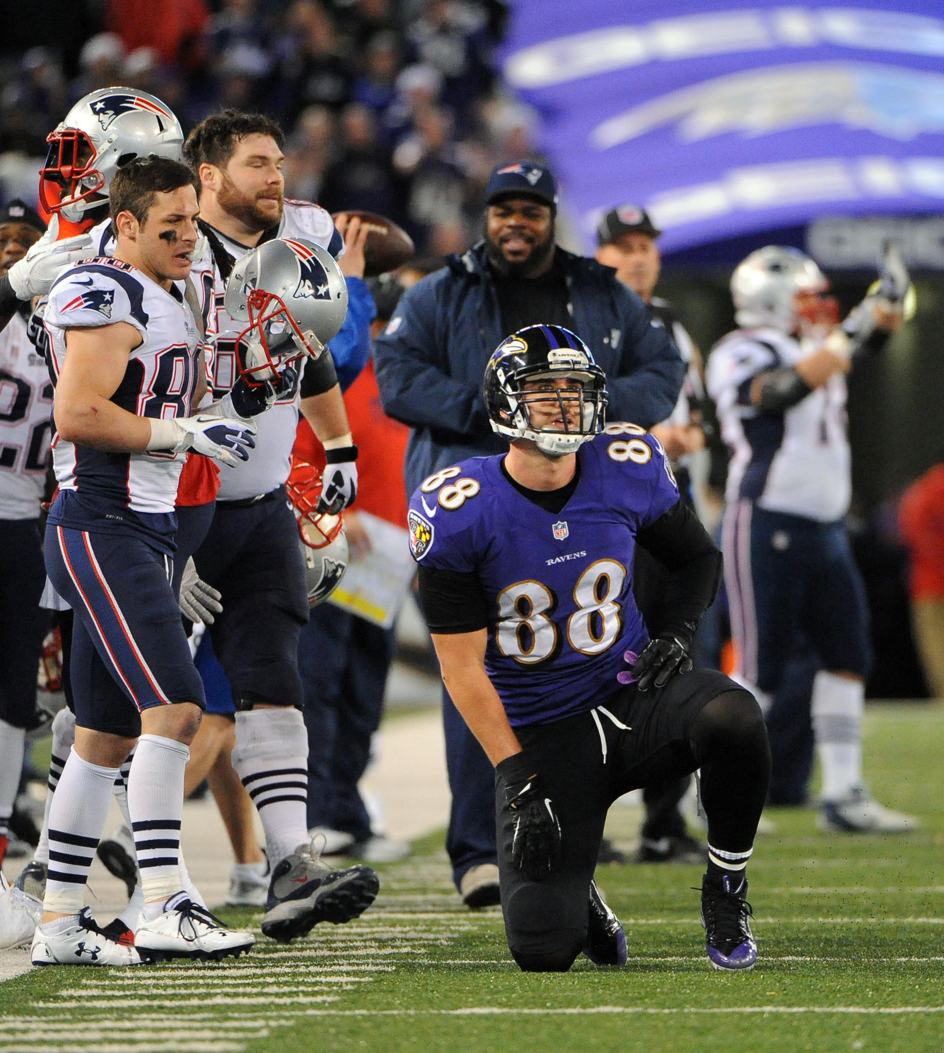 Ravens tight end Dennis Pitta looks on as the Patriots celebrate a turnover on downs after Pitta fails to make a catch on fourth-and-10 in the fourth quarter.
