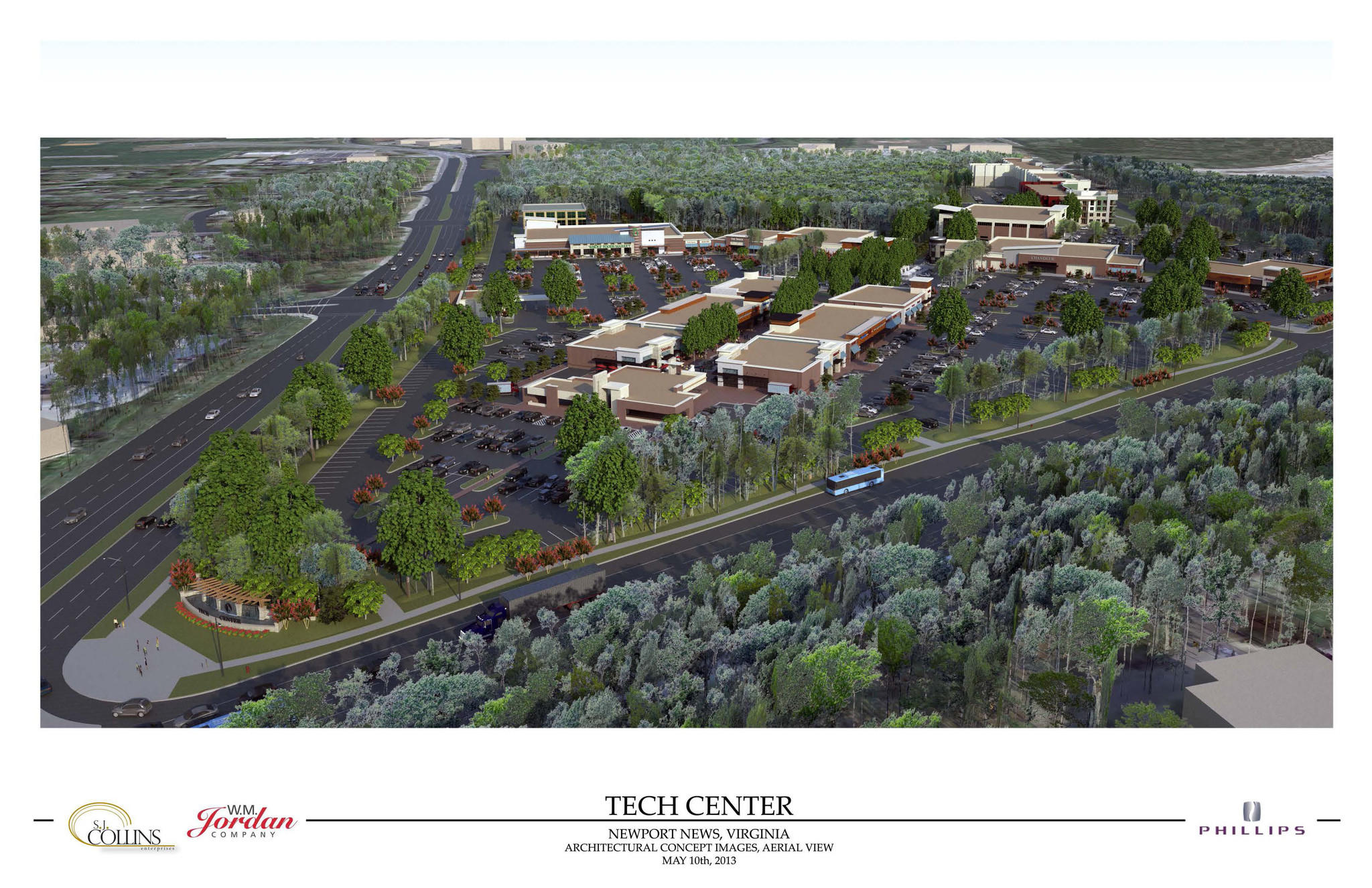 Rendering showing an aerial view of the mixed-use phase of the proposed Newport News Tech Center, to be built by W.M. Jordan Company. Retail stores are in the center. Whole Foods, which will be a tenant in the development, is the building with the green entrance awning above the retail shops. The development also includes a fitness center and apartments on the right in the distance.