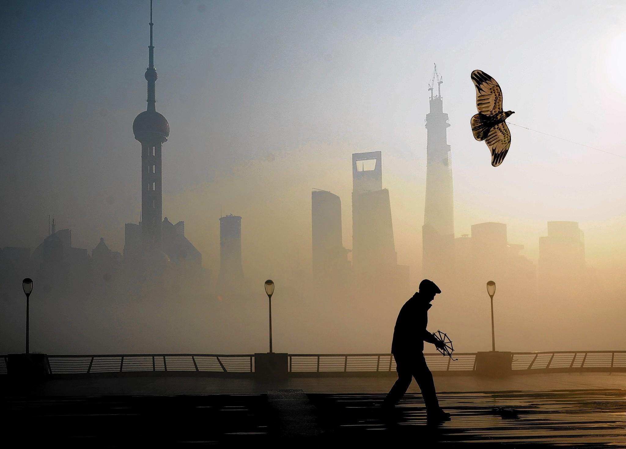 A man flies a kite in Shanghai. This month, the city had an air pollution reading of 500 for the first time, prompting authorities to order children and the elderly to remain indoors. Beijing and other parts of northern China have pollution that is even higher.