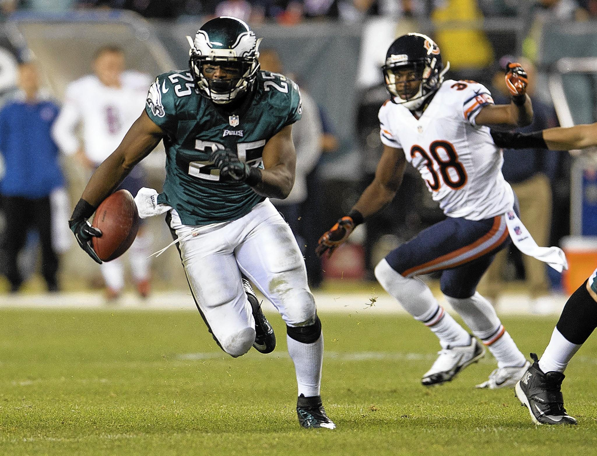 Eagles running back LeSean McCoy leads the NFL in rushing this season with 1,476 yards. He had a big game Sunday night against the Bears.