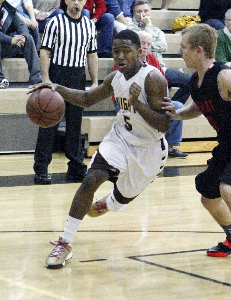 St. Francis High's Michael Allen and the Golden Knights lost to Hart on Monday night.