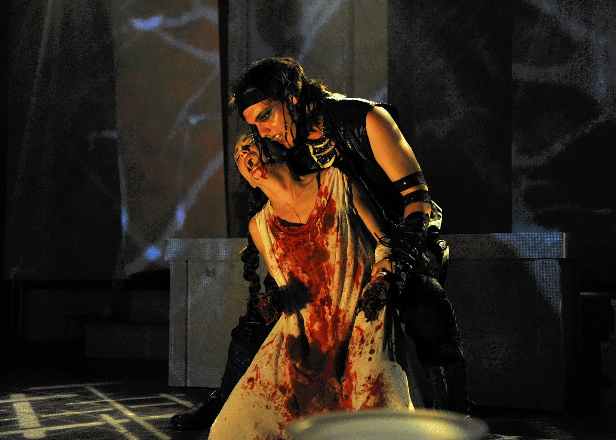 "Chiron (Greg Joubert) and Lavinia (Kelly Kilgore) have a bloody time in ""Titus Andronicus."""
