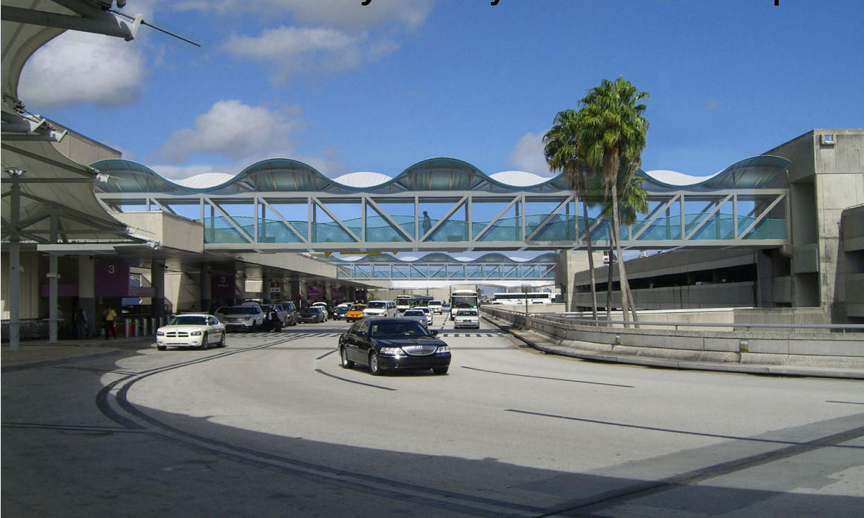 Pedestrian Bridges - A rendering of the proposed design by artist Laurie Lundquist. The pedestrian bridges that connect the parking garages to Terminals 2, 3 and 4 at Fort Lauderdale-Hollywood International Airport are to be spruced up with roofs depicting rolling waves. The interior of the bridges also will be refurbished. Handout photo provided by: Laurie Lundquist