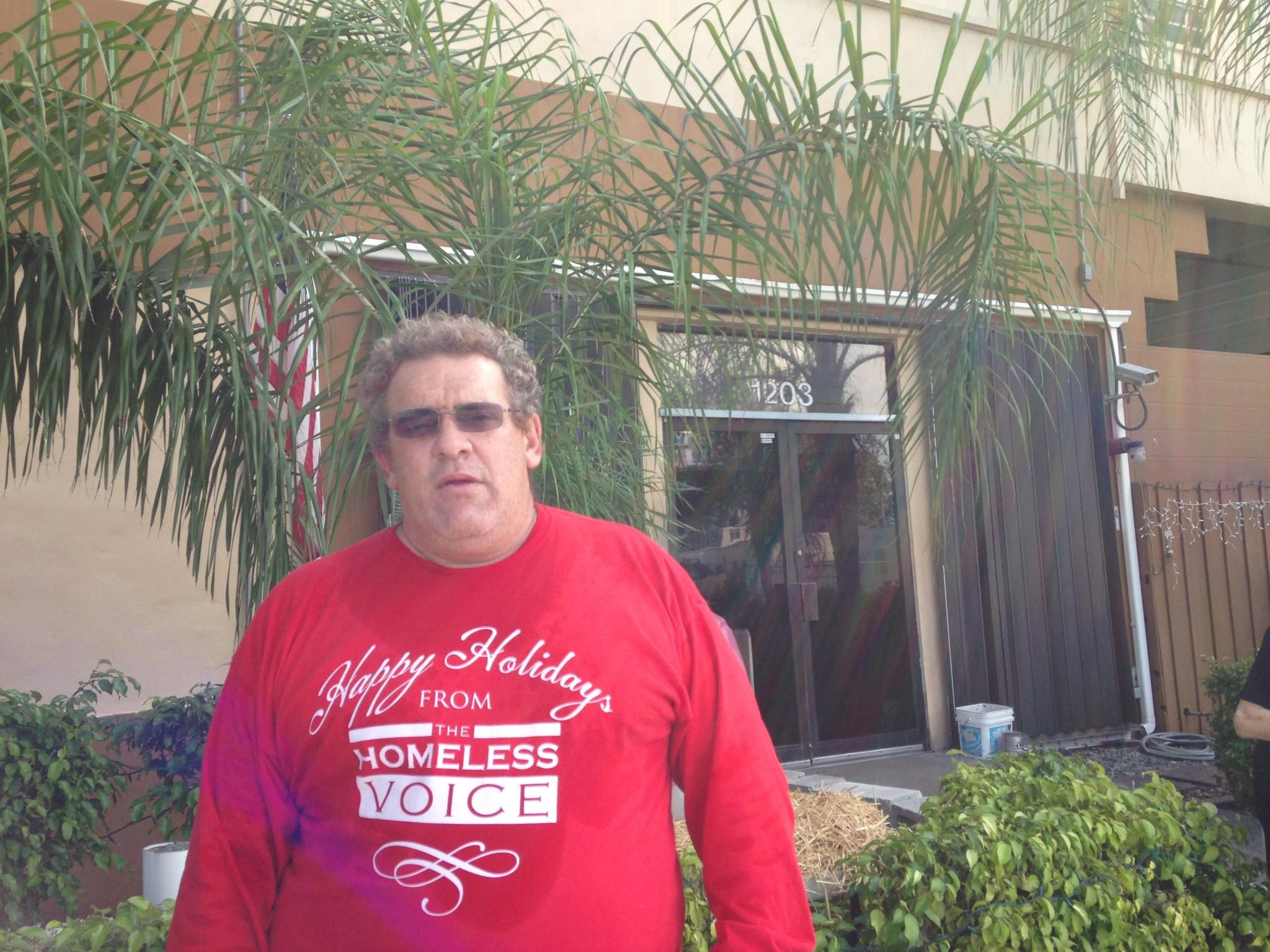 Sean Cononie, founder/director of The Homeless Voice shelters, outside the Hollywood headquarters on Tuesday.