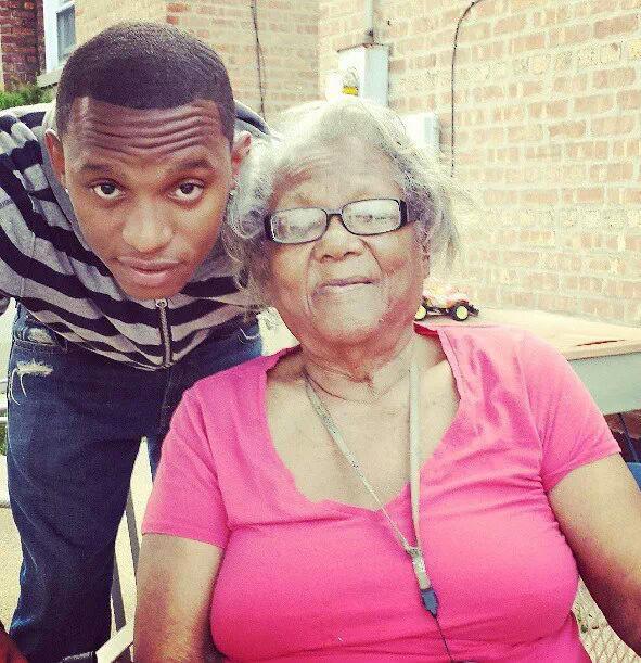 Johnnie Vassar with his great-grandmother, Elizabeth Vassar.