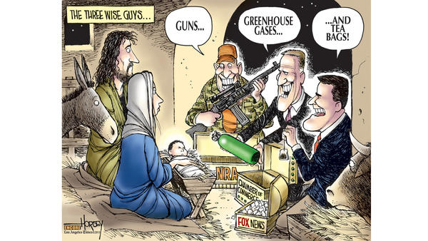 An encore Horsey cartoon contrasts the gifts of Christmas with the follies of politics.