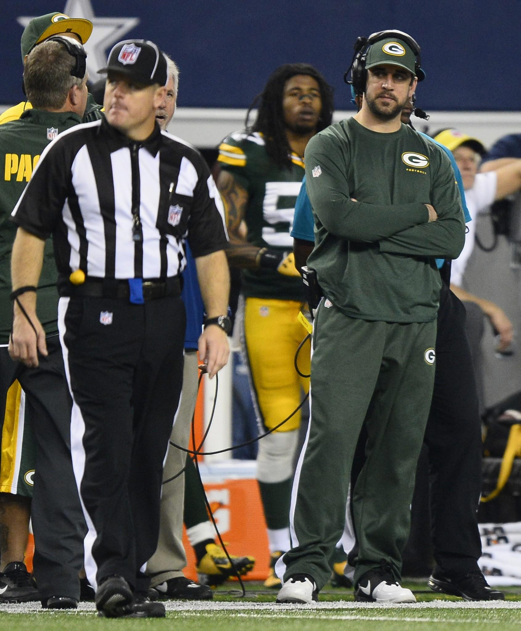 Packers quarterback Aaron Rodgers on the sidelines against the Cowboys in the second half.