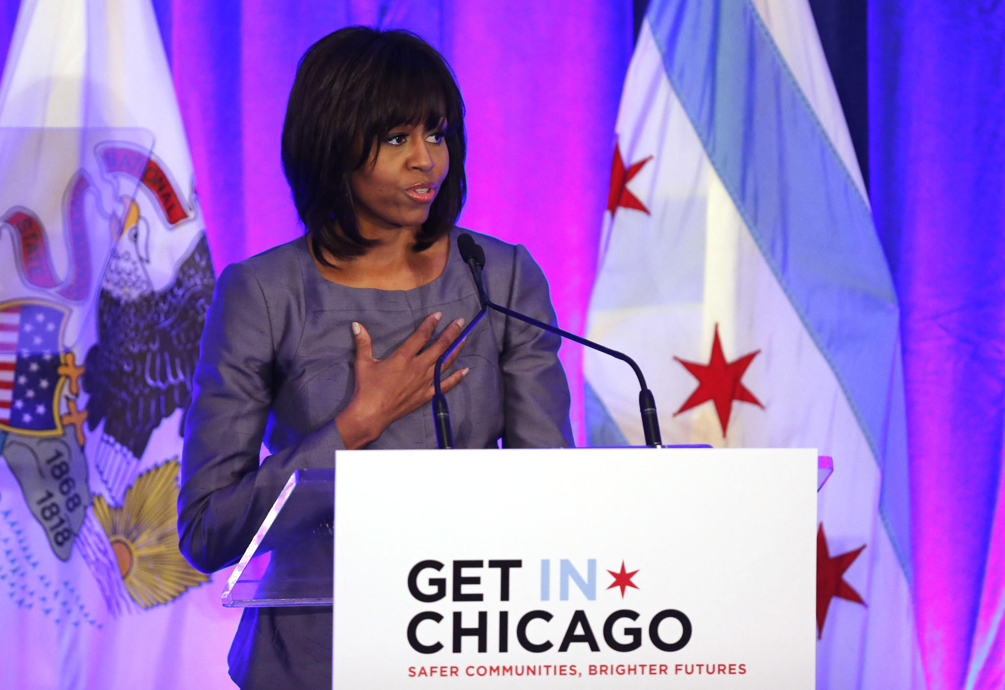 First lady Michelle Obama speaks at a luncheon at The Chicago Hilton in April, 2013.