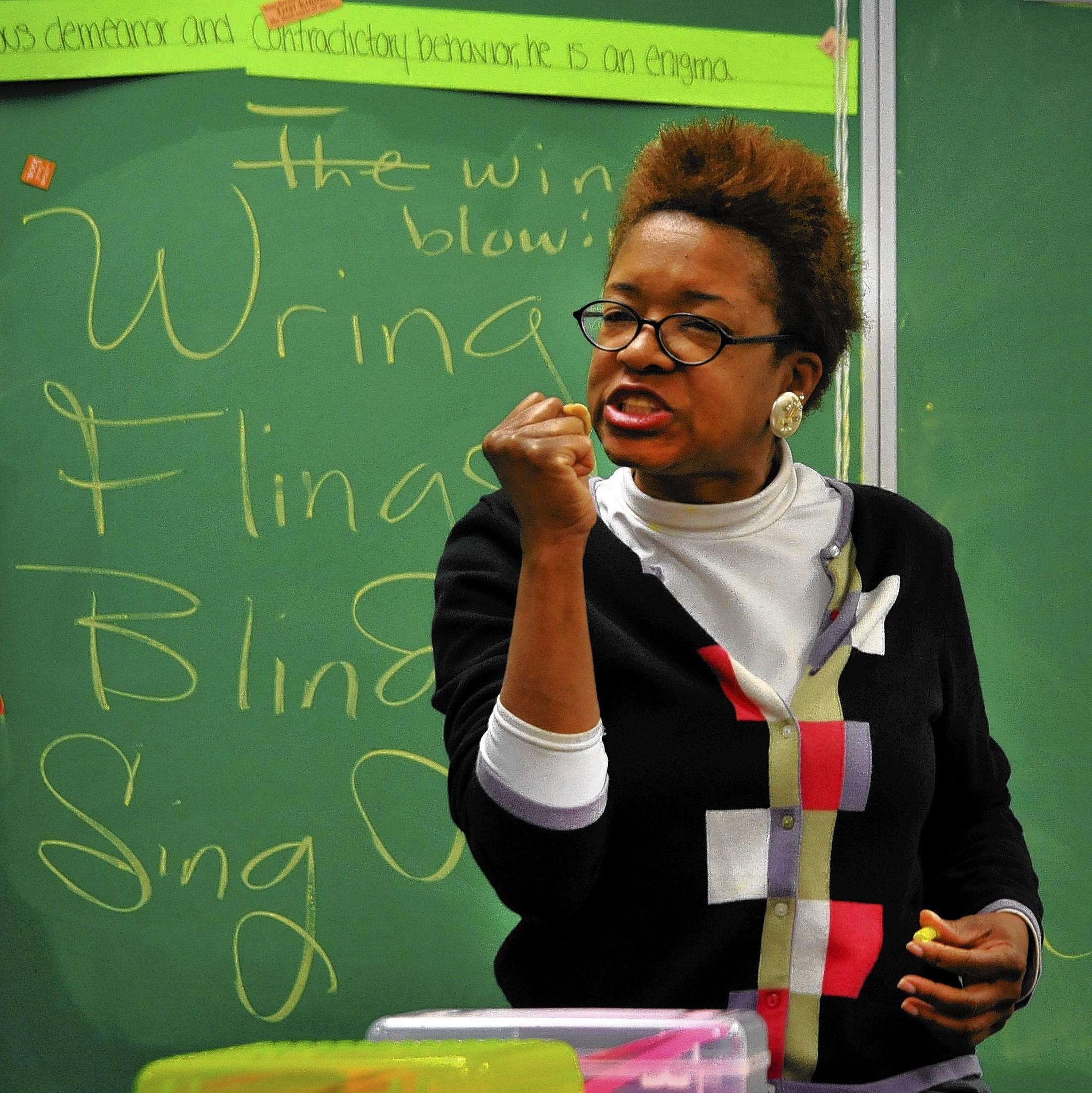 Slam poet Gayle Danley visits Wilde Lake Middle School teacher Brett Lebowitz's 8th grade English class for the second of three Slam Poetry Workshops.