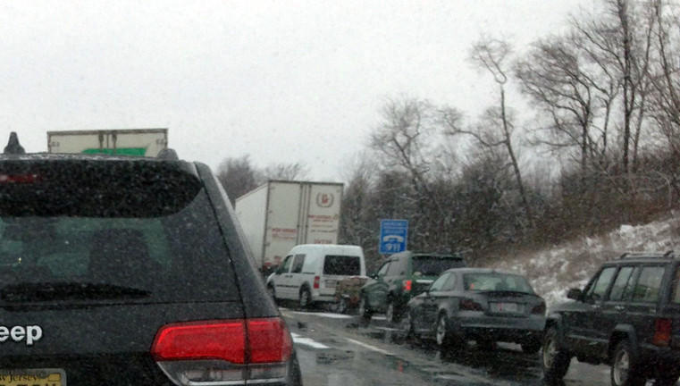 Motorist Peter Olmsted was stuck in the traffic jam resulting from a crash on Interstate 78 West in Berks County on Thursday. Olmsted took this photo at around 11:15 a.m.; he said he had been stopped on the highway since 9:05 a.m.