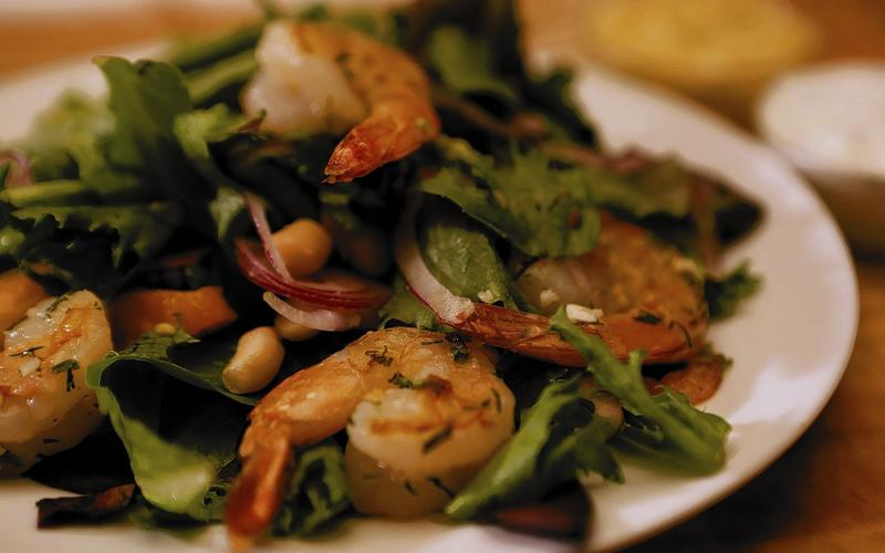 Honey chipotle shrimp salad from the Restaurant at the Getty Center