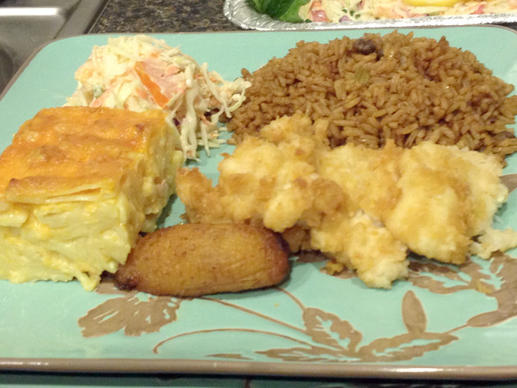 A traditional Bahamian meal of fried fish, rice and peas and baked macaroni and cheese, which we enjoyed as part of the People to People Program.