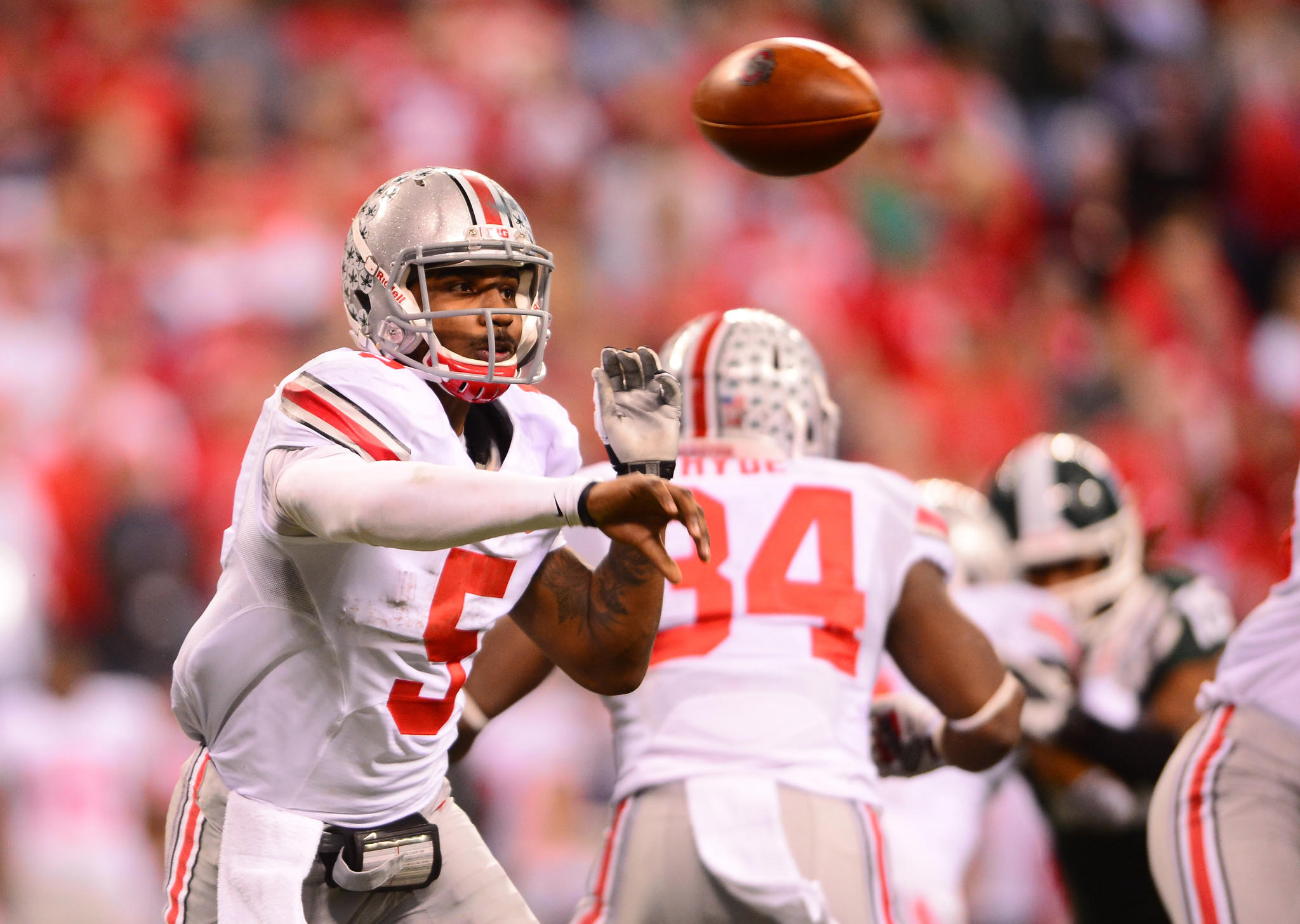 Ohio State quarterback Braxton Miller throws a pass during the third quarter of the 2013 Big 10 Championship game.
