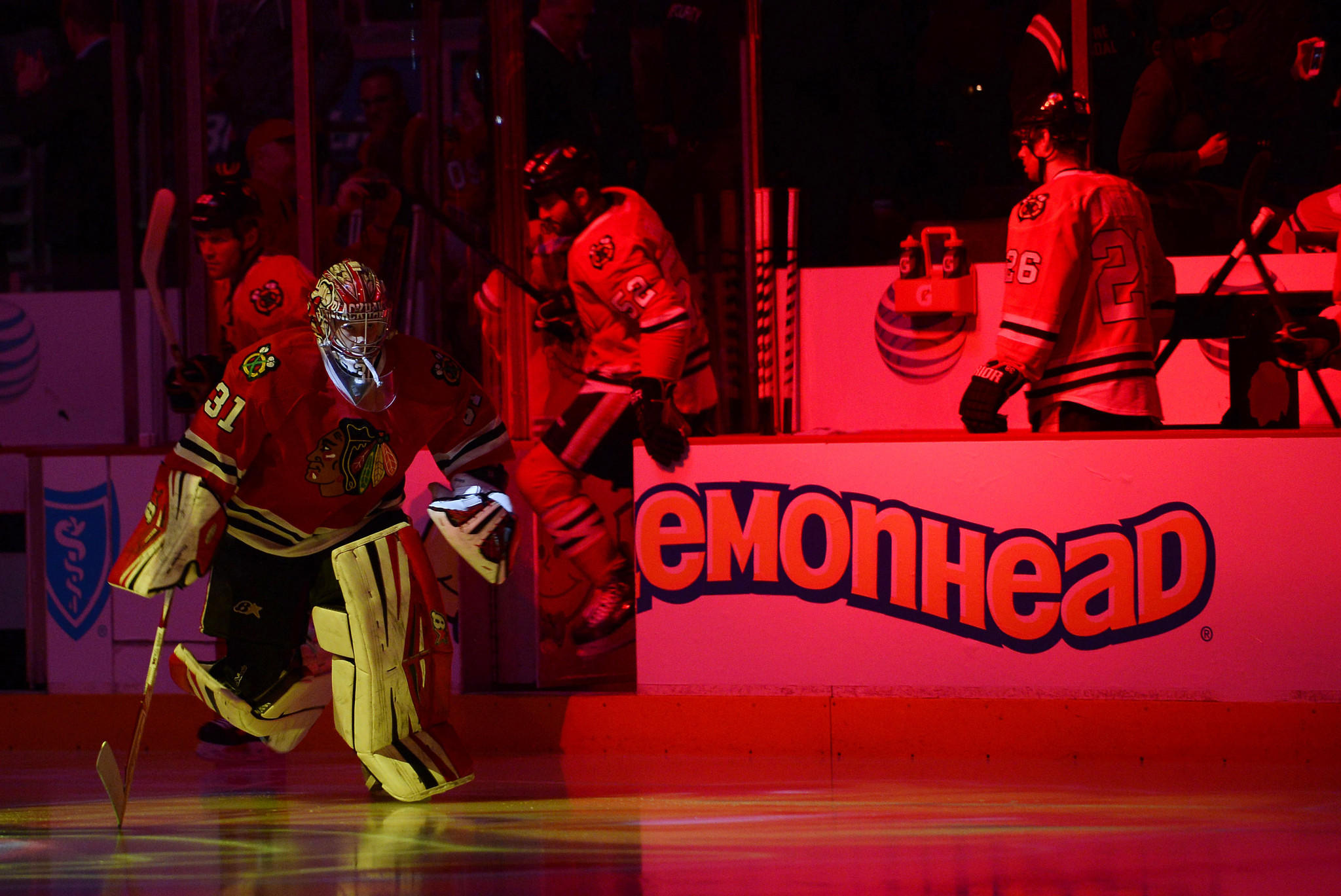 Blackhawks goalie Antti Raanta takes the ice against the Devils at the United Center.