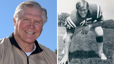 Former Baltimore Colt George Kunz is seen on the left in a recent photo and on the right in a photo from 1975.