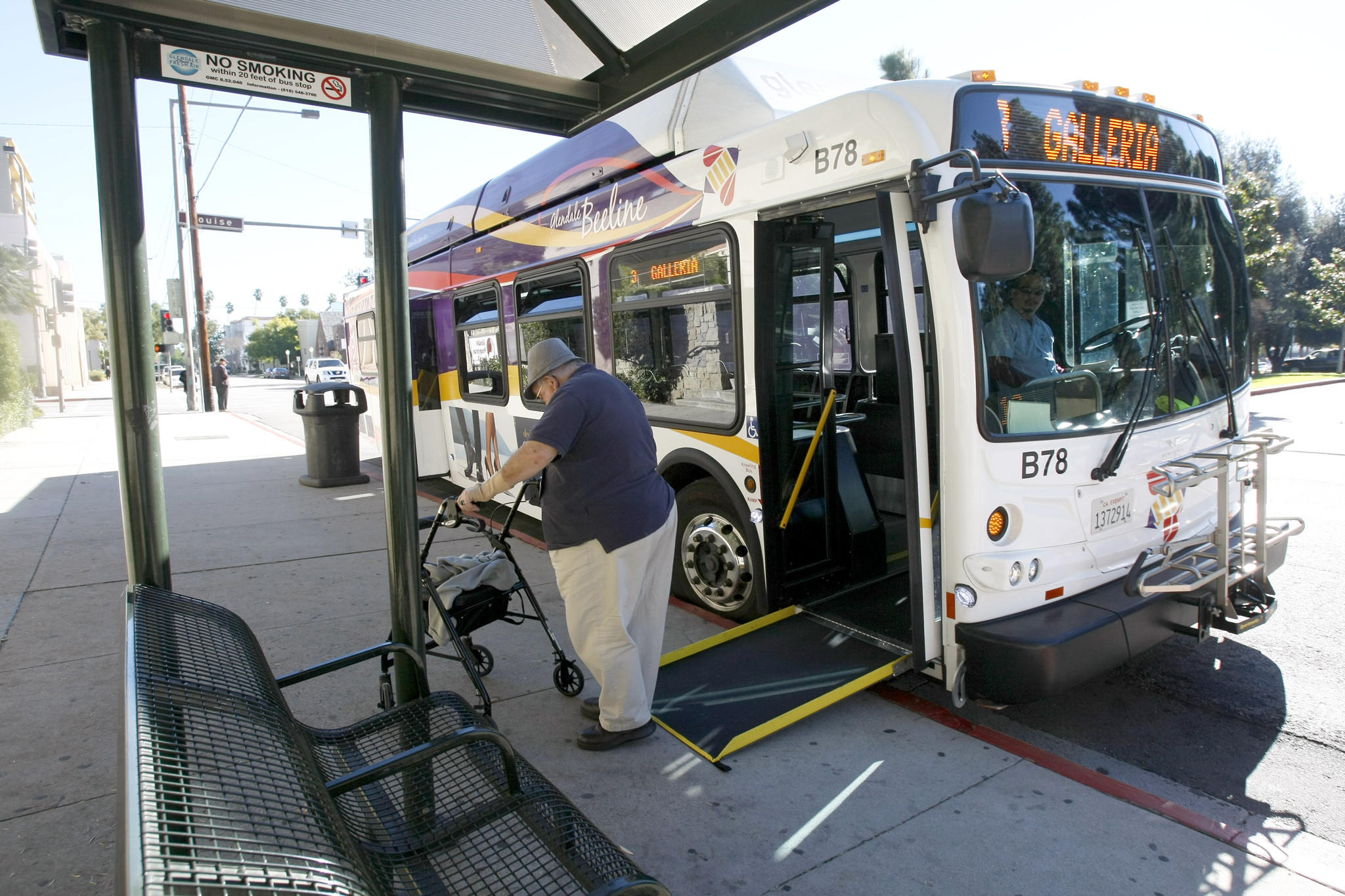 A passenger gets off the #3 Beeline bus at Broadway and Louise in Glendale on Tuesday, Dec. 24, 2013.