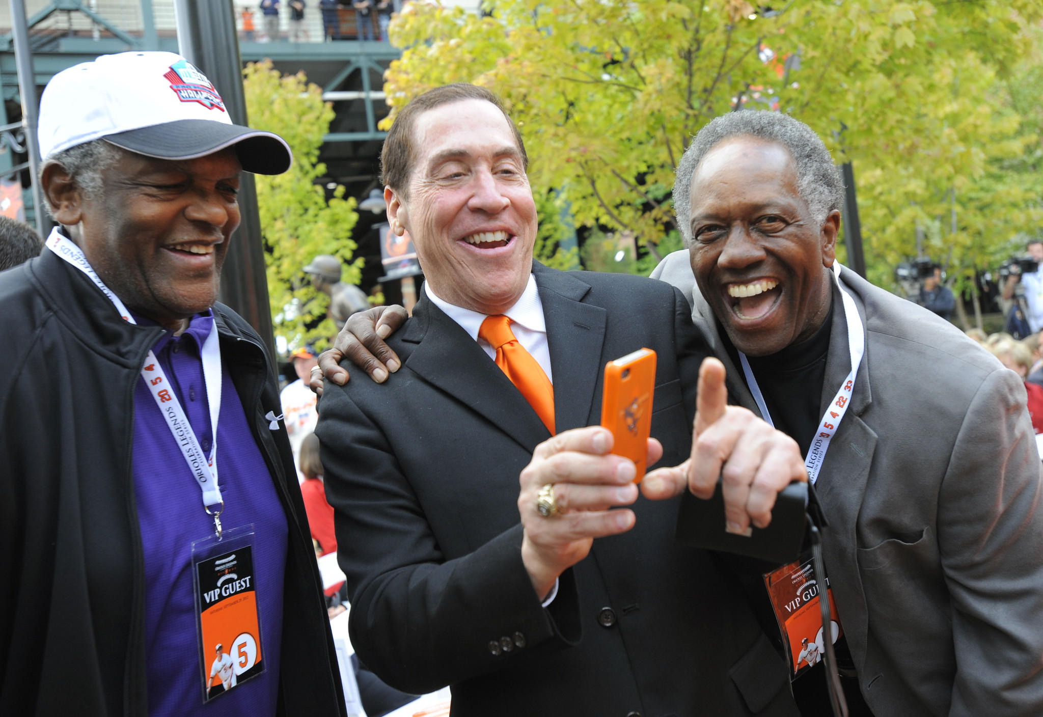 Former Colt, Lenny Moore, Roy Firestone and Paul Blair share a laugh before the unveiling of Brooks Robinson's statue. The Baltimore Orioles unveil the Brooks Robinson statue at Camden Yards today before the Orioles vs. Boston Red Sox baseball game.