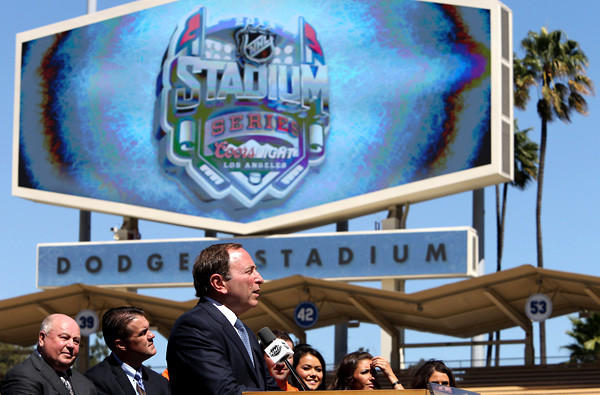 NHL Commissioner Gary Bettman speaks during a news conference at Dodger Stadium to announce the Kings-Ducks Stadium Series game.