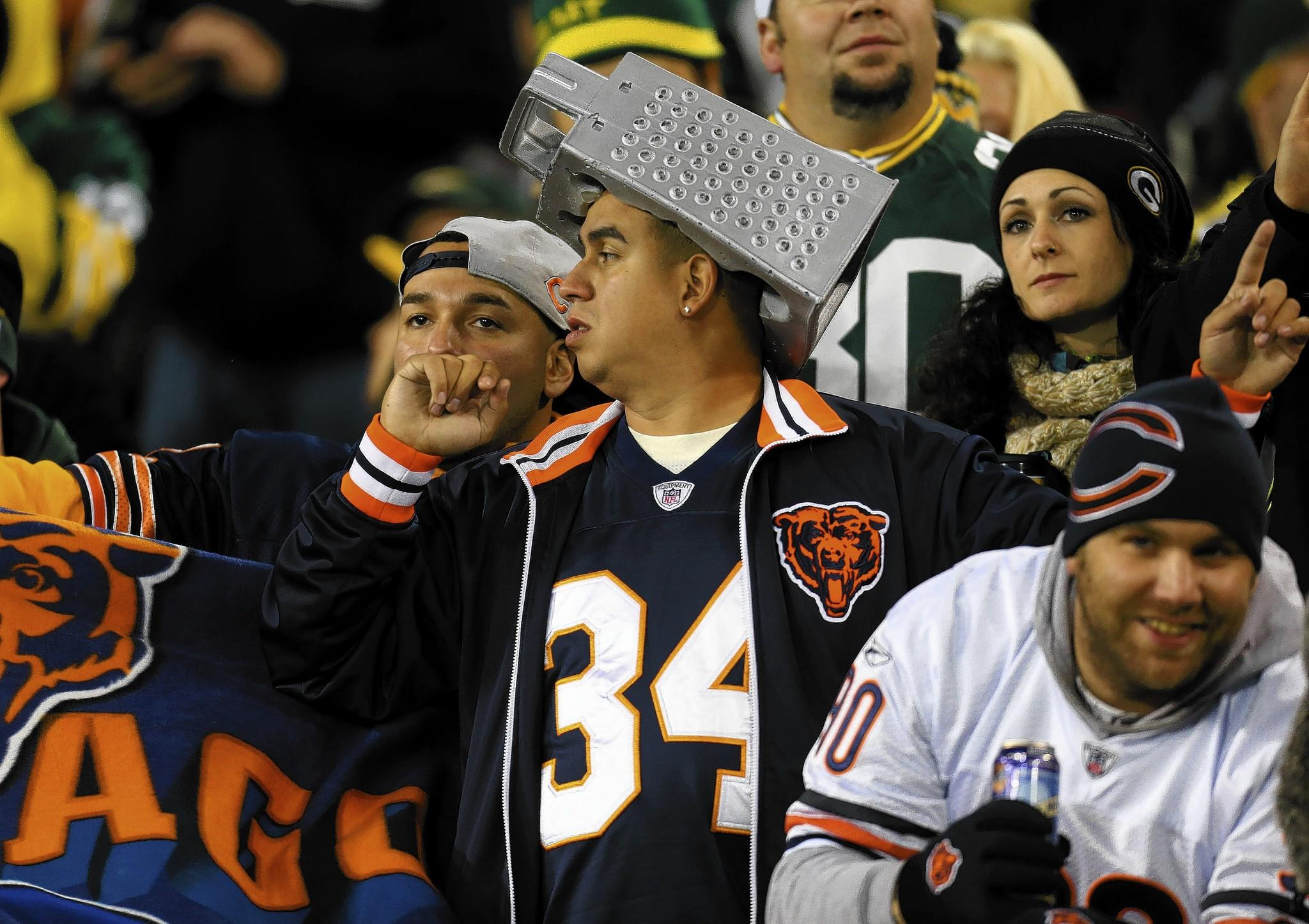 A Chicago Bears fan sports a Graterhead hat at Lambeau Field in Green Bay, Wis., in early November.