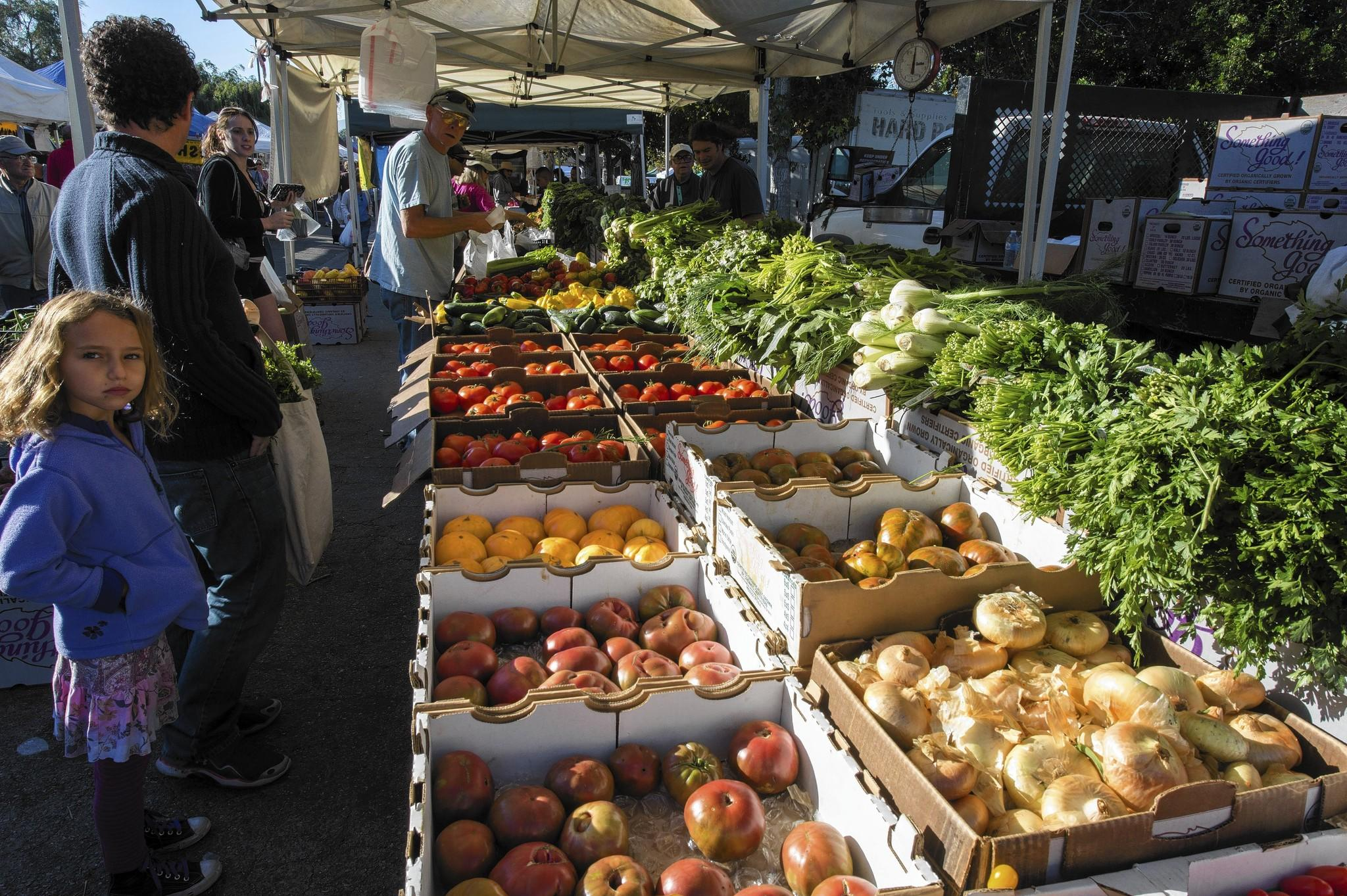 Produce is on display at the Encino farmers market. Los Angeles County is checking farmers markets to be sure that vendors actually grow the produce being sold, rather than resellling someone else's goods.