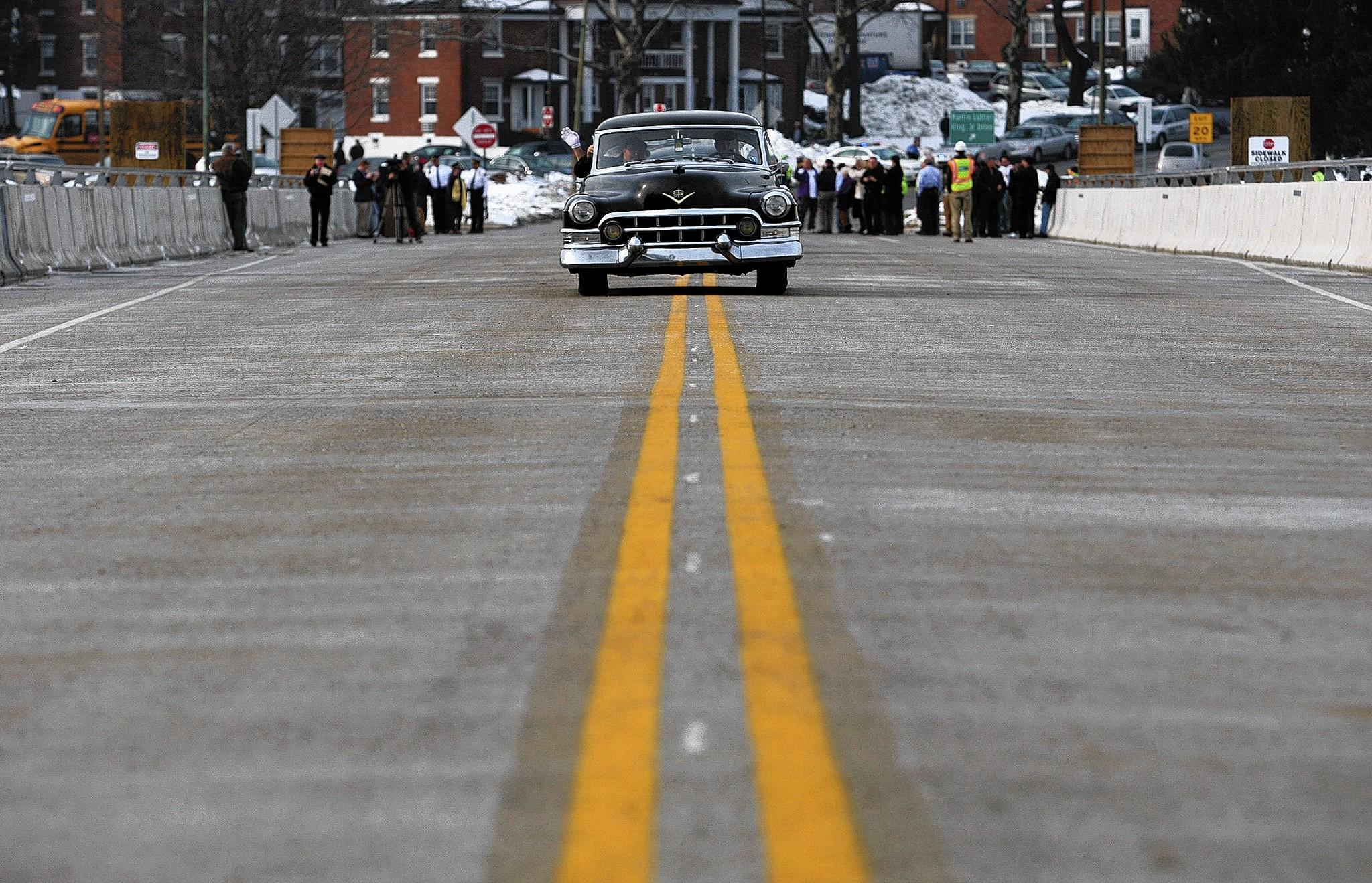 A 1952 Cadillac highlights the ceremonial opening of a new 15th Street Bridge in Allentown a week ago. Initially, the car was misidentified as a 1948 Packard.