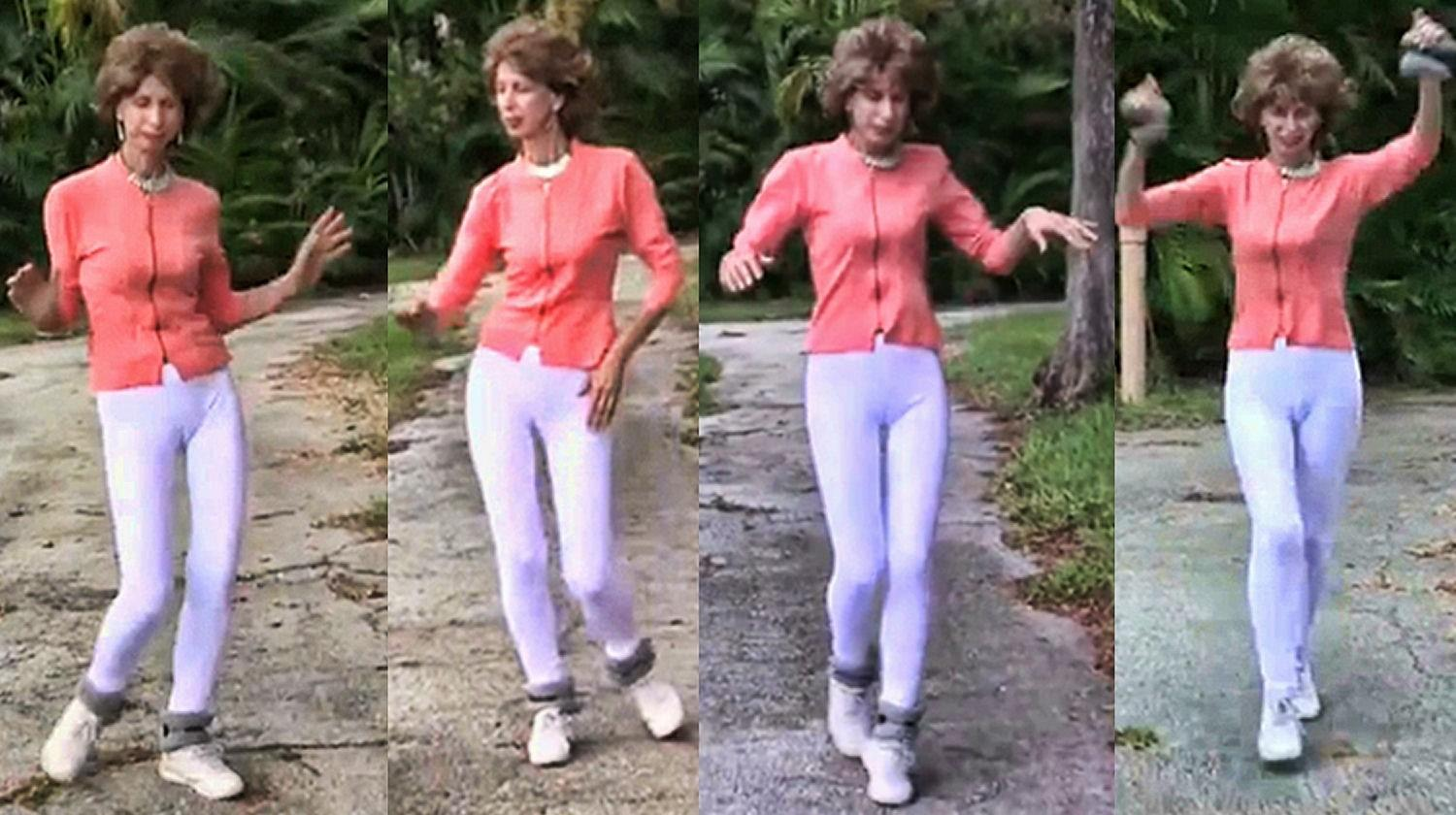 "Joanna Rohrback with some of her moves from her Prancercise video on YouTube that went viral in 2013. Rohrback described her routine as a ""springy rythmic way of moving forward, similar to a horse's gait"" and ""the ultimate"" in exercise efficiency."