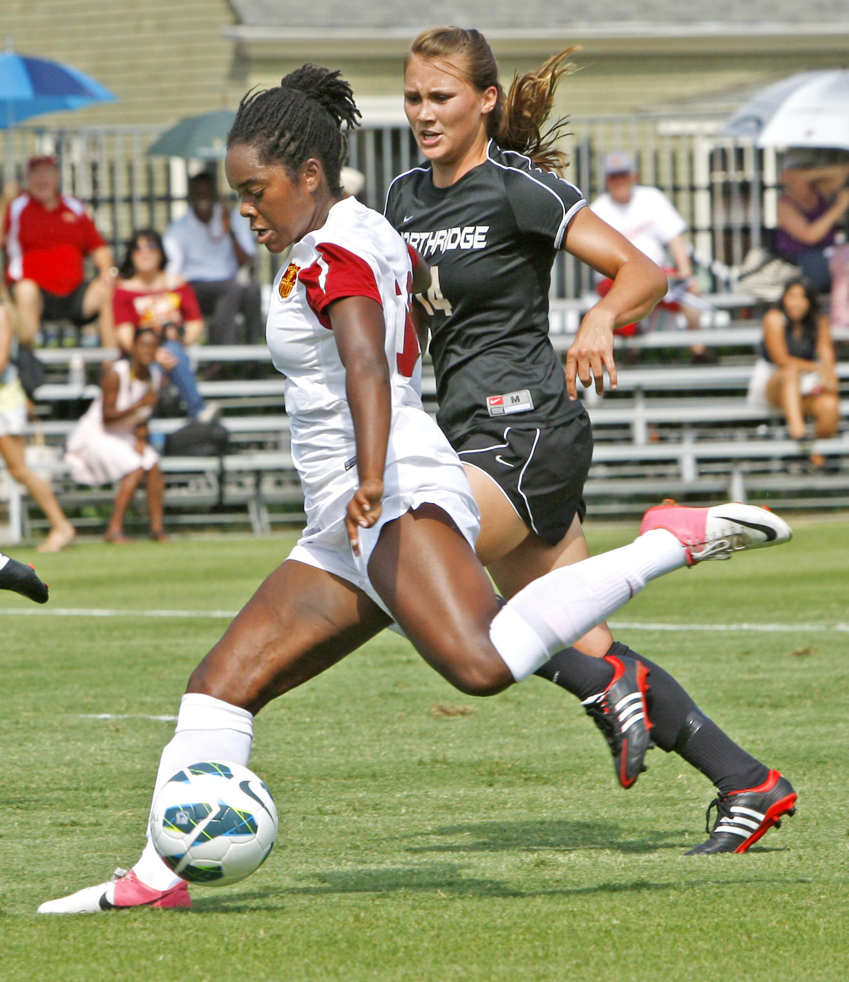 Kayla Mills of the USC women's soccer team is a Flintridge Sacred Heart Academy graduate. Mills was recently named a 2013 National Soccer Coaches Association of America Girls High School All-American for her play during the 2012-13 season.