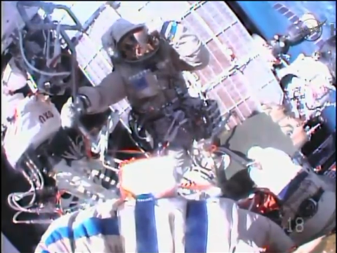 Cosmonauts set a Russian spacewalk record Friday as they attempted to install two high-fidelity cameras to the exterior of the International Space Station. The cameras had to be removed when they failed to transmit data to Earth.