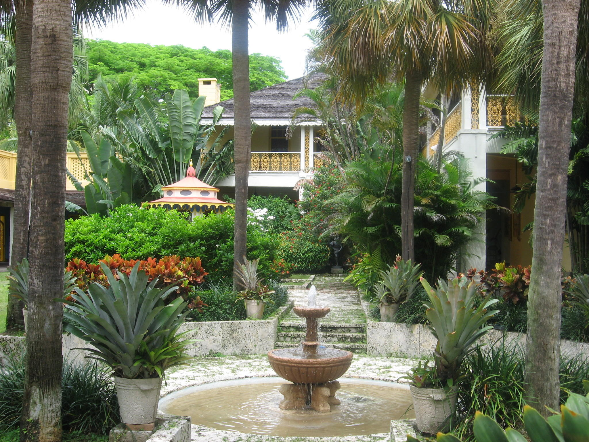 The interior courtyard at the Bonnet House Museum & Gardens in Fort Lauderdale.