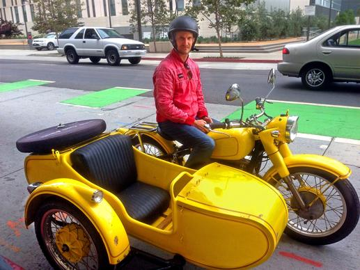 Logothetis sets out from Los Angeles with his 1978 Chang Jiang motorcycle.