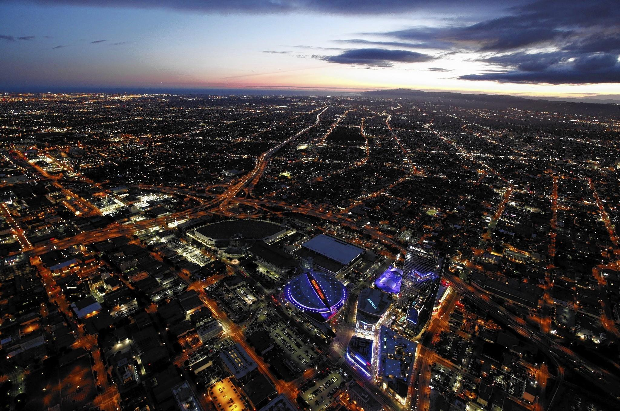 An aerial view of the L.A. Live entetainment complex in downtown Los Angeles looking west from the Goodyear Blimp.