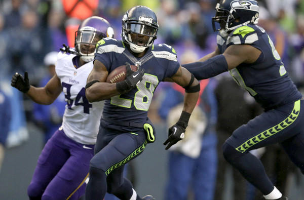 Seahawks cornerback Walter Thurmond returns an interception for a touchdown against the Minnesota Vikings earlier this season.