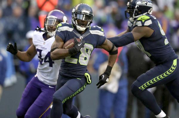 Seahawks cornerback Walter Thurmond returns an interception for a touchdown against the Minnesota Vikings earlier this season.