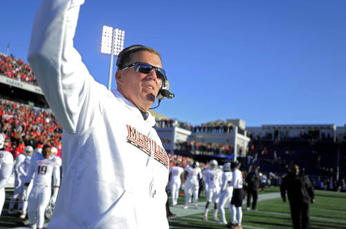 Maryland's Randy Edsall looks on from the sideline during the first quarter.