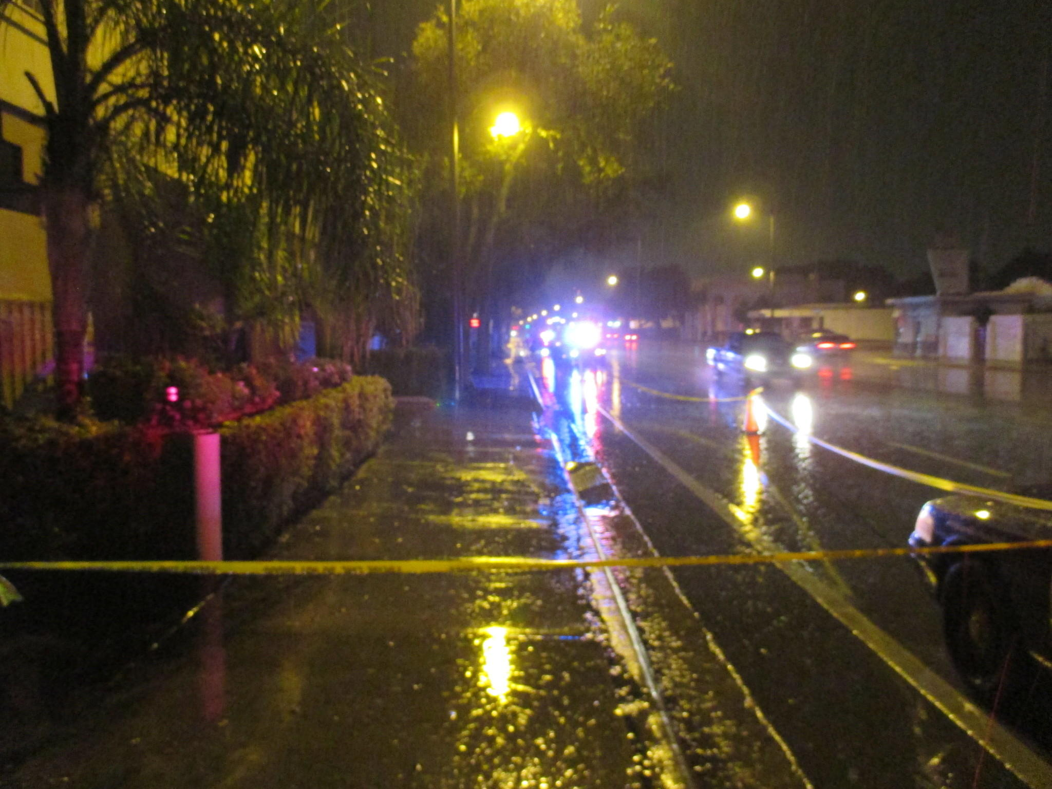 Police cordoned off the crime scene Friday following the fatal stabbing of a homeless man in Hollywood.