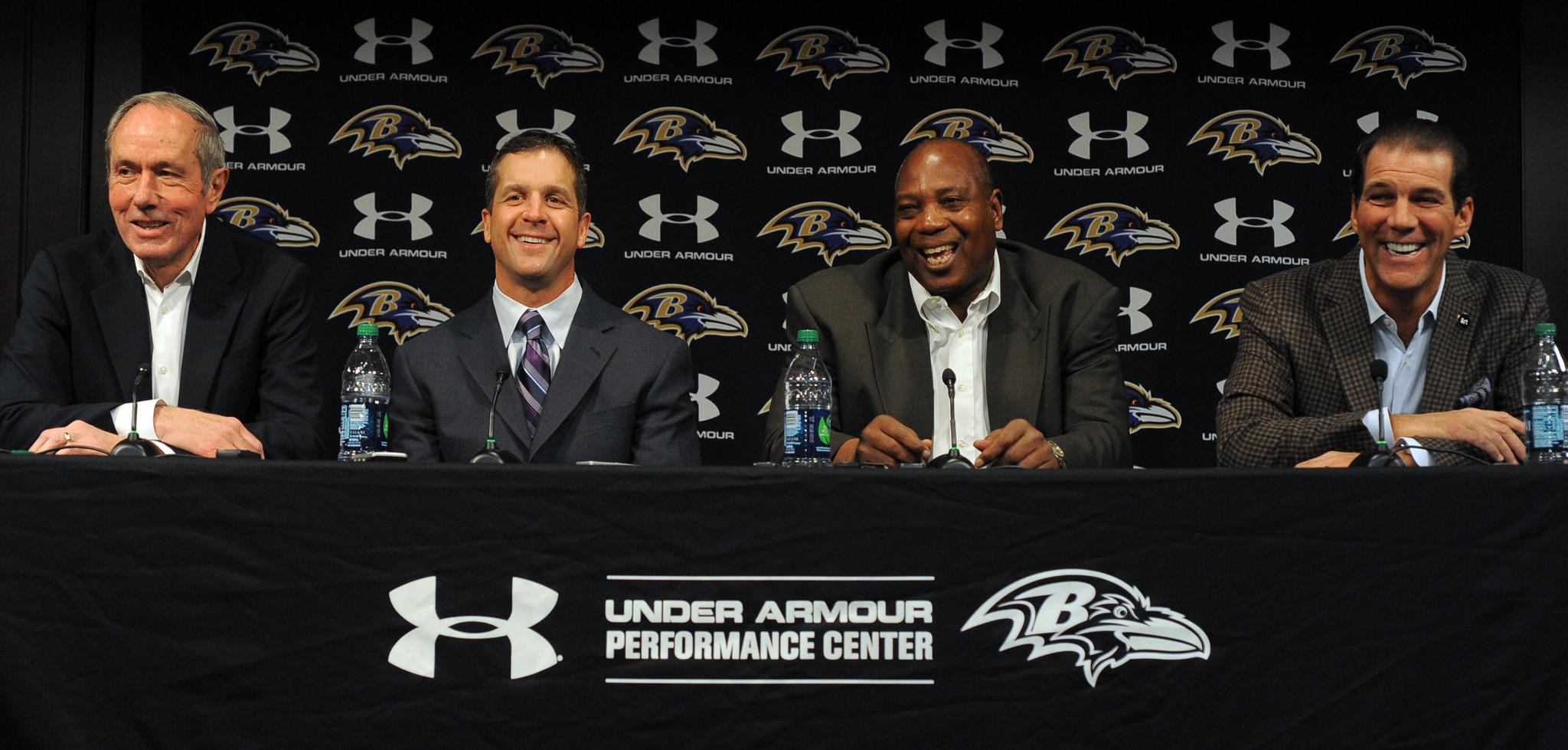"Ravens general manager, shown second from right during a February news conference alongside, from left to right, team president Dick Cass, coach John Harbaugh and owner Steve Bisciotti, said in April: ""I'd like for someone to be able to tell me that we aren't good enough to go to the playoffs right now. Can anyone say that?"""