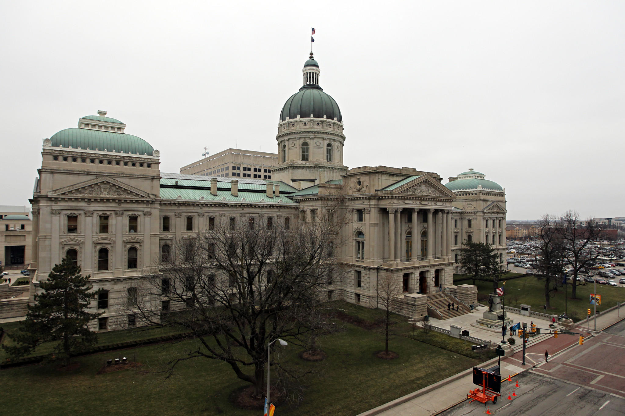 The Indiana State Capitol as the Indiana House debates a right-to-work bill Tuesday, Jan. 24, 2012.