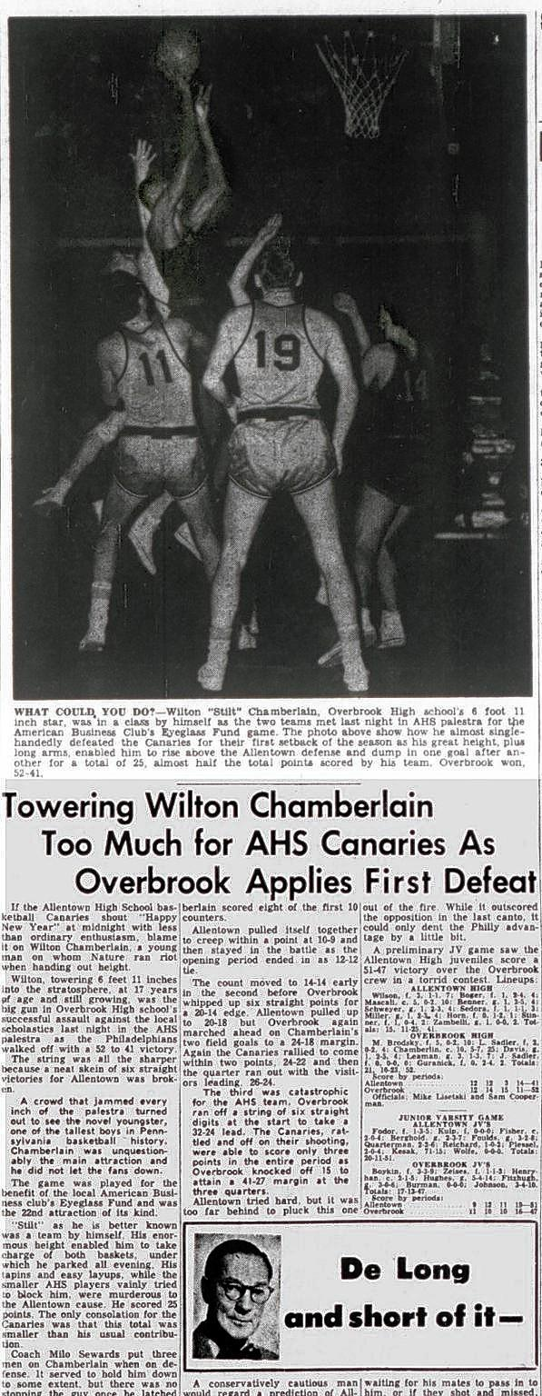Wilt Chamberlain of Overbrook High School in basketball game against Allentown High School Canaries at the Little Palestra gym in December 1953.