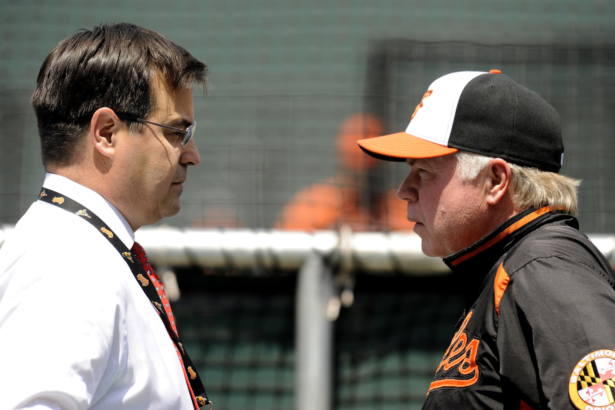 Orioles executive vice president Dan Duquette and manager Buck Showalter, shown speaking before a June home game against the Red Sox, had an interesting — and to some, unsatisfactory — offseason.