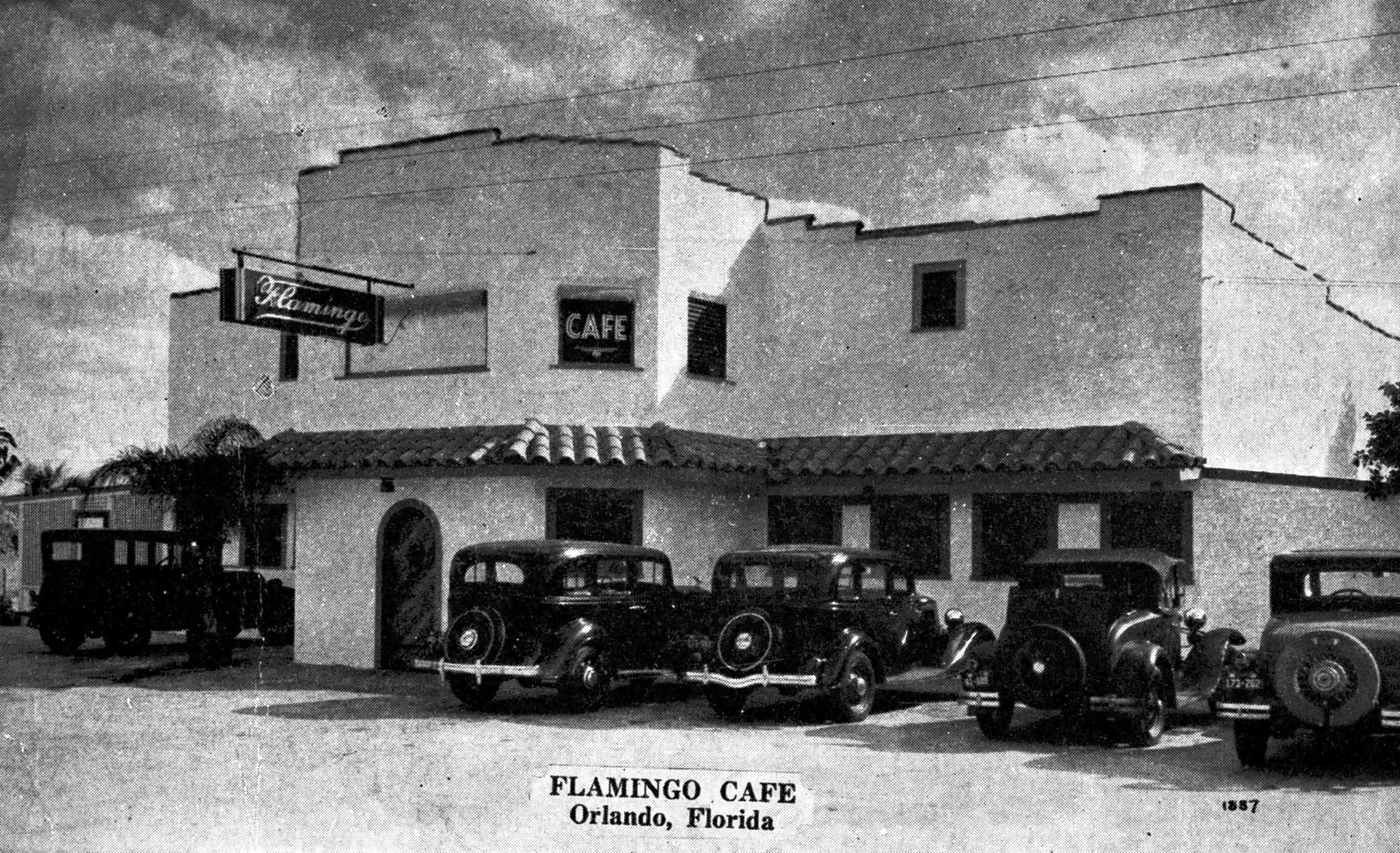 Orlando's long-gone Flamingo Club, born during Prohibition, looks quiet in a 1930s postcard scene. But the place really jumped with back-stage casino gambling on Saturday nights, according to memories published in 1957. The club was on what's now East Colonial Drive, about where Herndon Plaza sits.