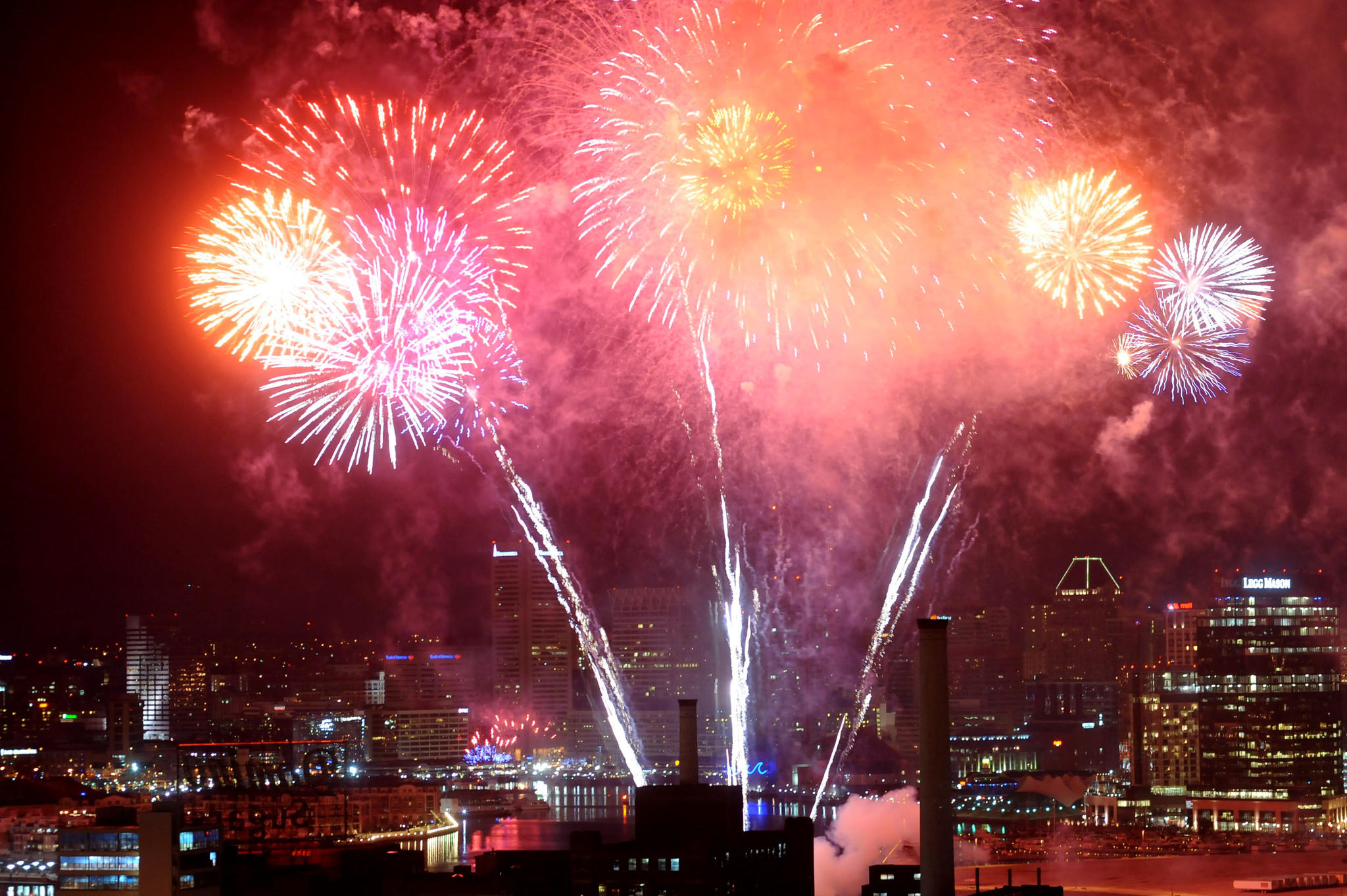 Baltimore rings in 2012 with New Year's Eve fireworks over the inner harbor as seen from Silo Point.