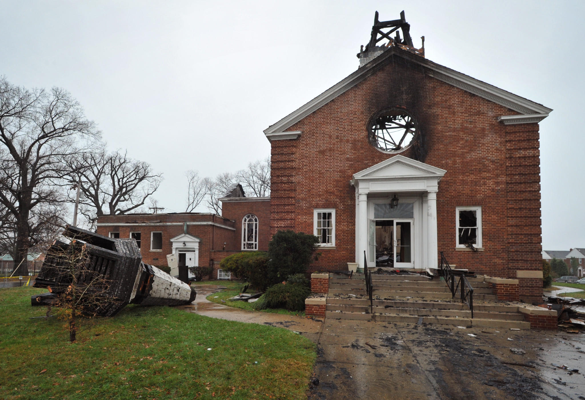 This view of Northwood-Appold United Methodist Church from Loch Raven Boulevard shows the toppled steeple at left.