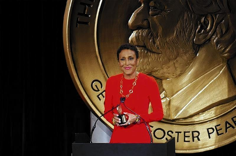 "Television host Robin Roberts speaks after being awarded a Peabody Award for her work in ""Robin's Journey"" in New York."